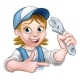 Cartoon Mechanic Plumber Woman Holding Spanner