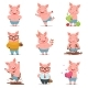 Little Cartoon Pigs Characters Posing