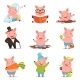 Little Pigs in Different Situations Set