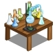 Chemical Flasks on Table. Magic Potions Concept