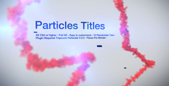 After Effects Project - VideoHive Particles Titles 1960496