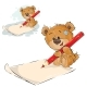 Brown Teddy Bear Holding Pencil