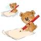Brown Teddy Bear Holding Pencil