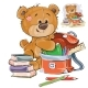 Brown Teddy Bear Holds School Supplies