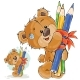 Brown Teddy Bear Holding Pencils