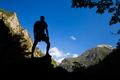 Tourist, climber or hiker celebrating inspirational landscape