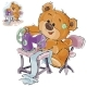 Vector Illustration of a Brown Teddy Bear Tailor