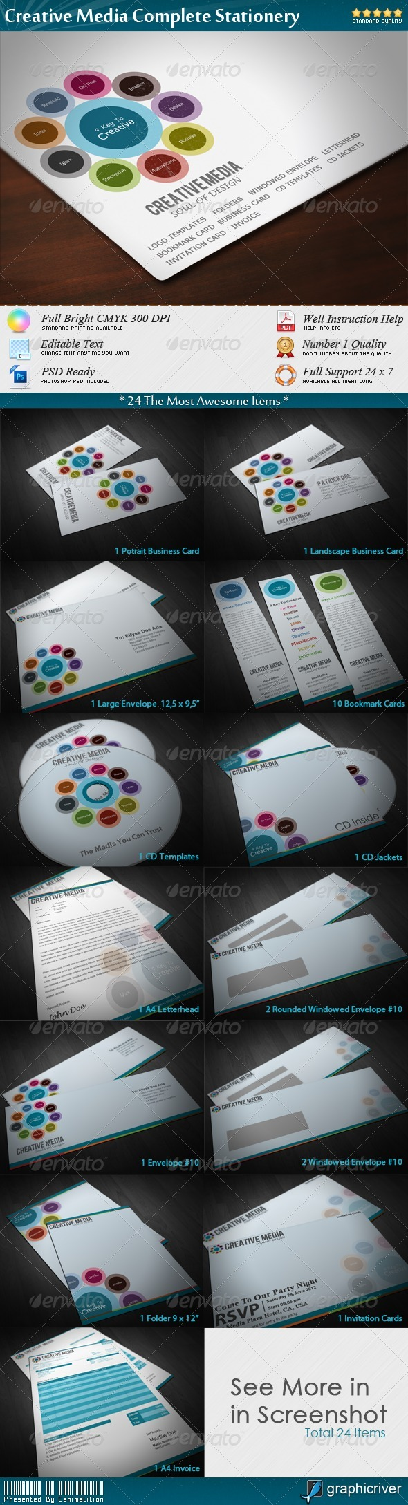 GraphicRiver Creative Media Complete Stationery 1434881