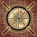 Poster -Navigational Instrument - The Compass In The Style Of Steampunk On An Abstract Background. - PhotoDune Item for Sale
