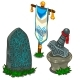 Set of Items in Norse Mythology. Vector Isolated