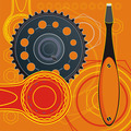 Poster - Industrial Still Life - Gears, Oiler, Tools Symbols Of Repair. - PhotoDune Item for Sale