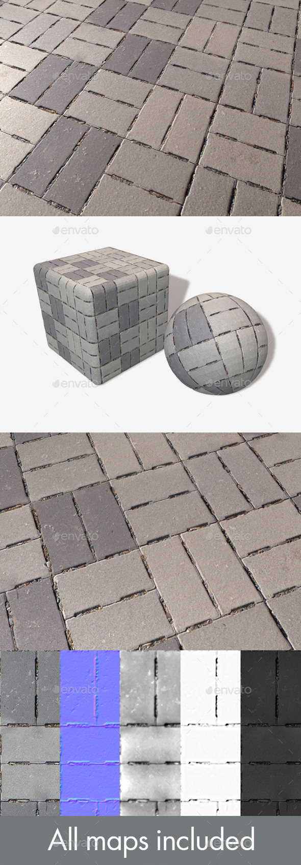 3DOcean Concrete Brick Flooring Seamless Texture 20032499