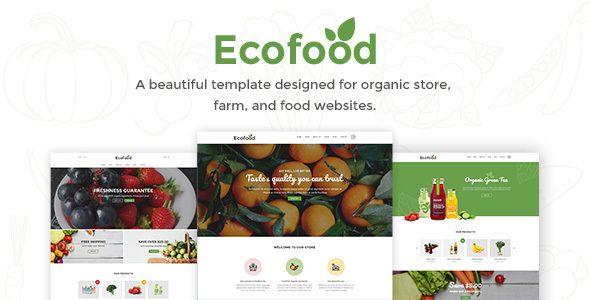 Ecofood – Responsive Organic Meals, Organic Shop &amp Farm PSD Template (Meals)