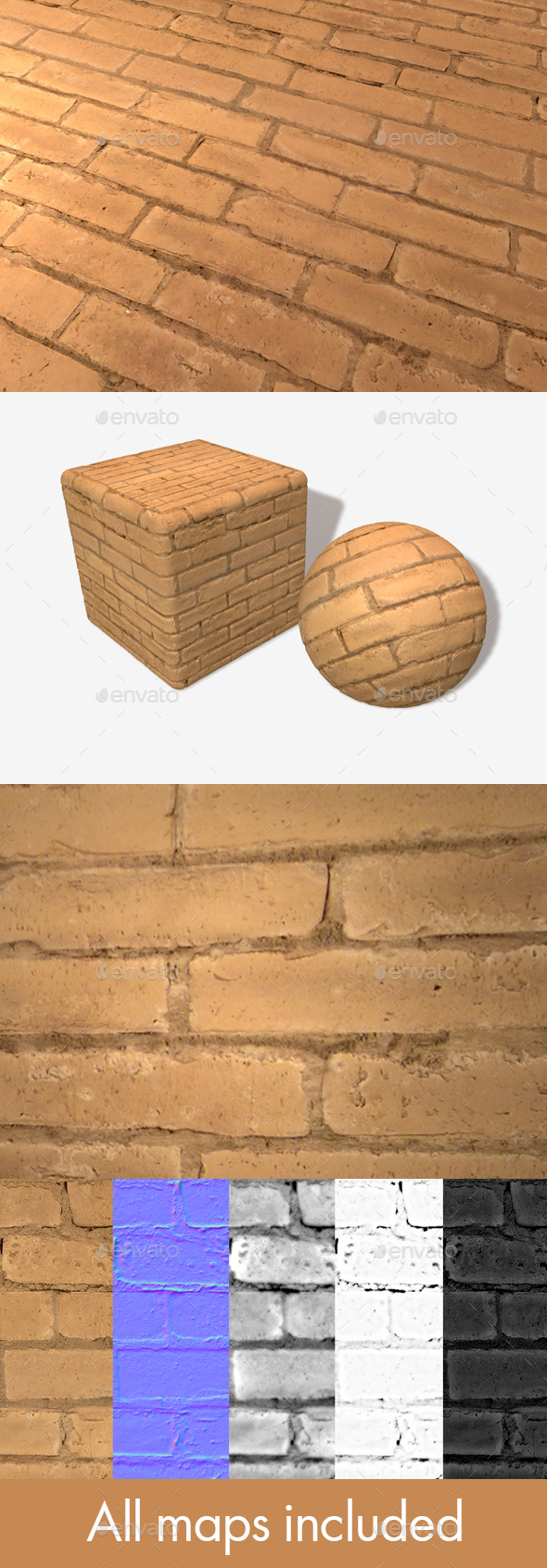 3DOcean Painted Orange Bricks Seamless Texture 20032628