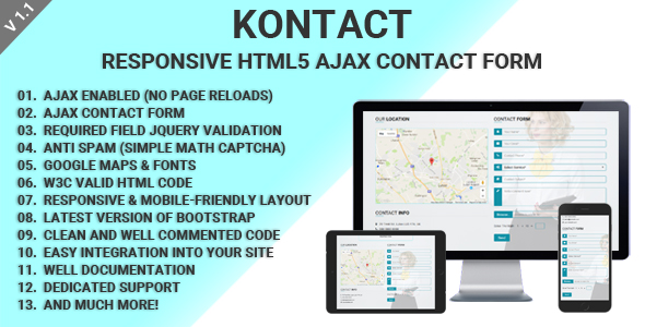 Download Kontact - Responsive HTML5 Ajax Contact Form