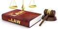 Judge gavel, justice scale and law book on white background. 3d illustration