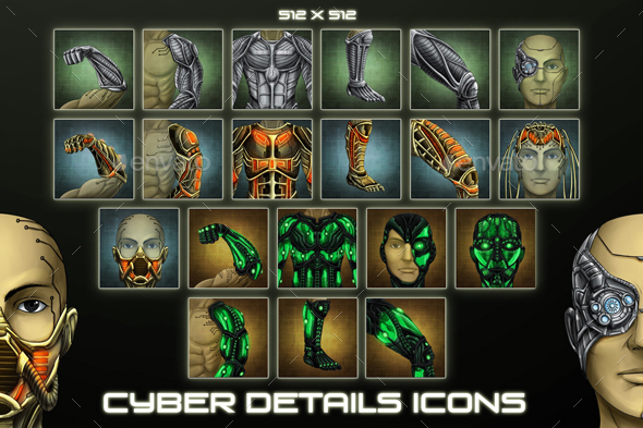 20 Sci-Fi Cyber Details Icons (Miscellaneous)