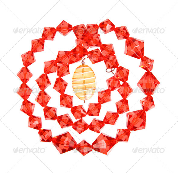 a necklace of red and yellow glass - Stock Photo - Images