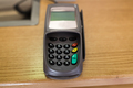 close up of bank card reader or atm terminal
