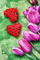 Symbolic heart and flowers Valentine day