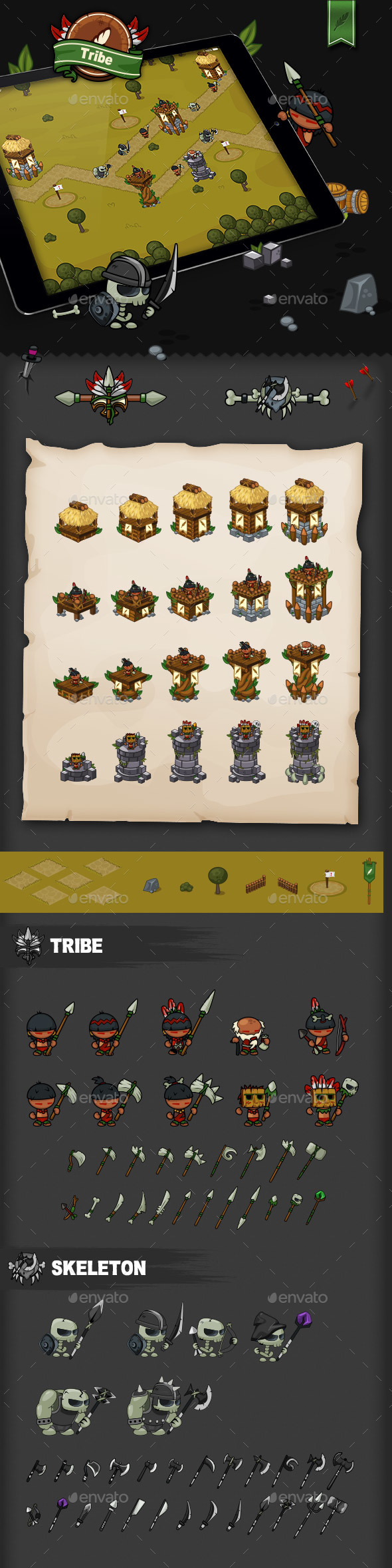 Tower Defense Game Set Tribe (Game Kits)