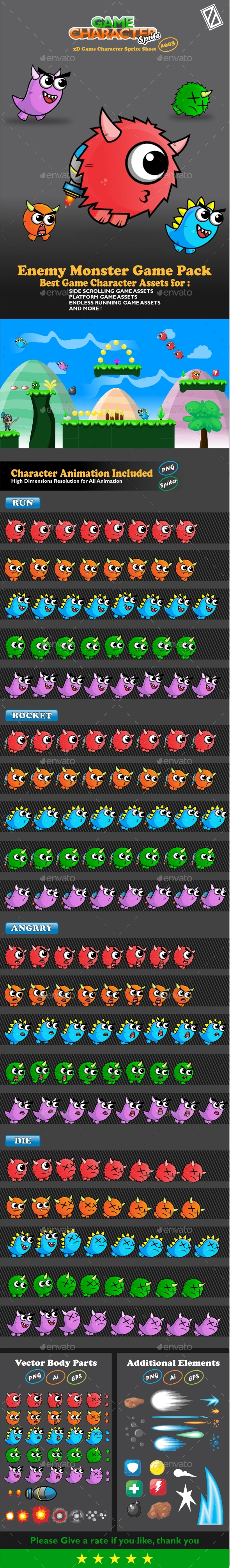 Enemy Monster Pack 2D Game Character Sprite (Sprites)