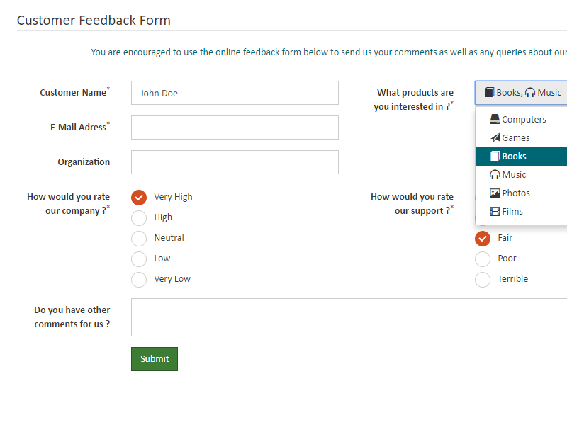 PHP Form Builder by migli – Customer Contact Form Template