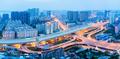 city interchange panorama in nightfall