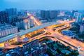 wuhan city interchange in nightfall