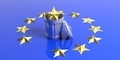 Crisis in the European Union - Golden starl in a trash can on a EU flag. 3d illustration