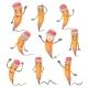 Cartoon Pencil Character Facial Expressions
