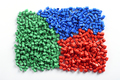 Colorful collection of molded plastic pellets