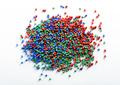 Heap of colorful plastic granules