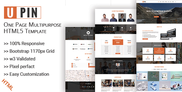 UPIN - One Page Multipurpose html5 Template