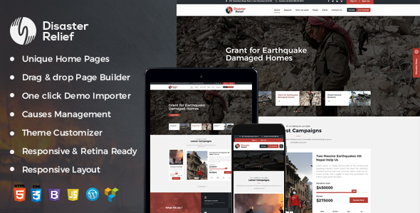 Disaster Relief Charity WordPress Theme (Charity)