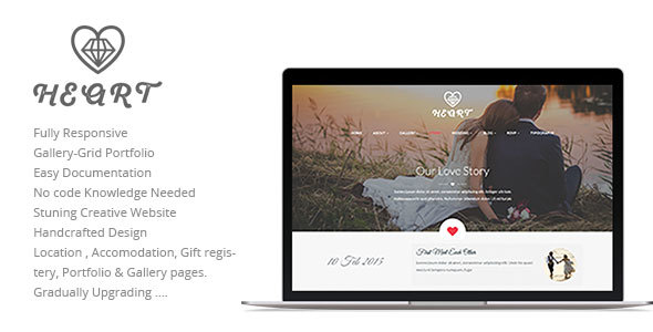 Heart Wedding Story, Occasion, RSVP Planner &amp Gallery Clean and Attractive Responsive HTML5 Template (Wedding)