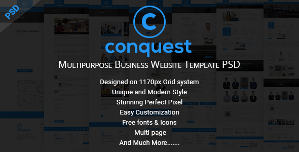 CONQUEST - Multipurpose Business Website Template PSD