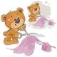 Vector Illustration of a Brown Teddy Bear Tailor