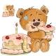 Vector Illustration of a Brown Teddy Bear Sweet