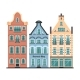 Set of 3 Amsterdam Old Houses Cartoon Facades