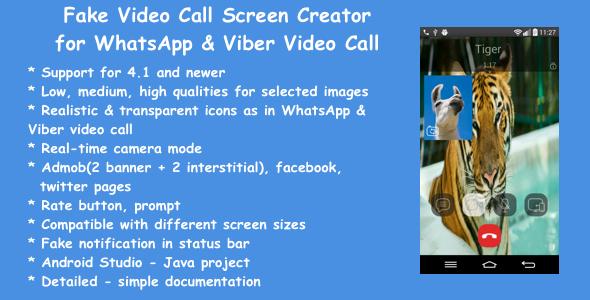 Fake Video Call Screen Creator for WhatsApp & Viber