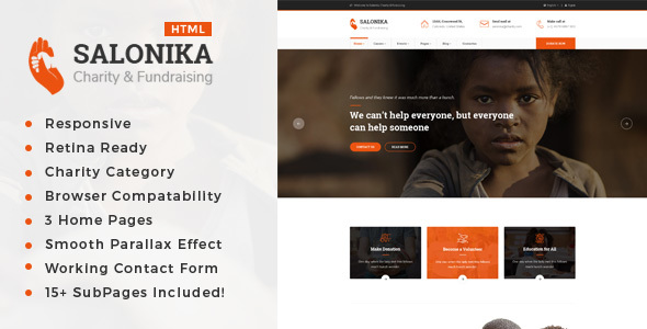 Salonika - Responsive HTML Template for Charity & Fund Raising