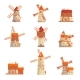 Rural Windmills Set. Collection of Traditional