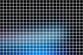 Deep and pale blue square mosaic background over white
