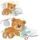 Vector Illustration of a Brown Teddy Bear Glues