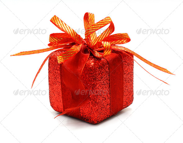 christmas gift box with a gold ribbon bow, isolated on white bac - Stock Photo - Images