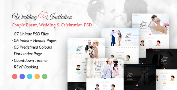 Wedding Invitation - Couple Event, Wedding & Celebration PSD Template