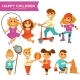 Happy Children Playing Outdoor Games Vector Icons