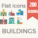 200 Building Flat icons