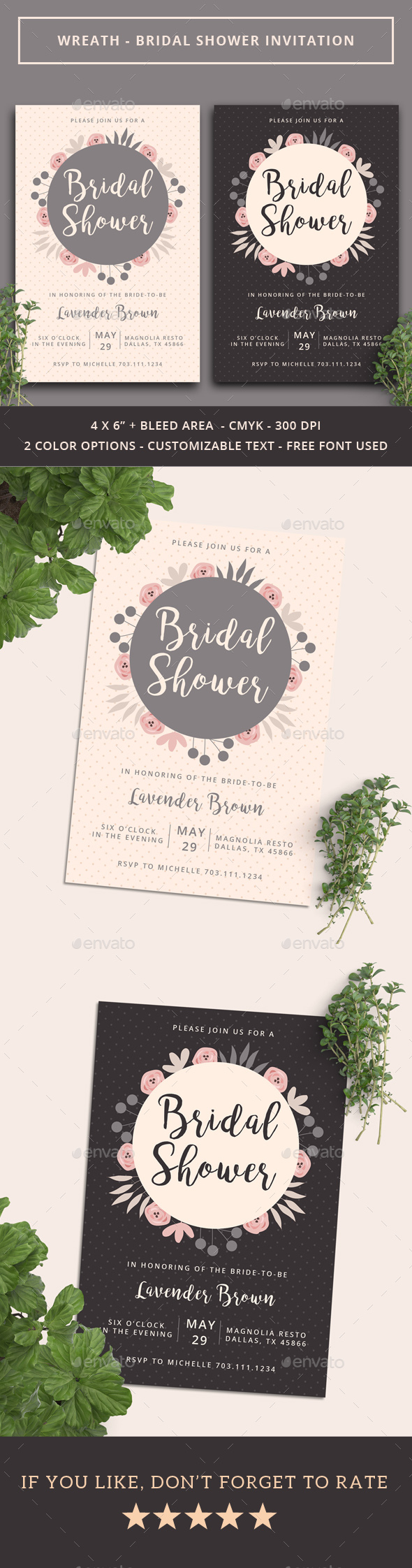 Wreath - Bridal Shower Invitation